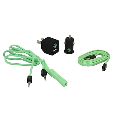 BlueDiamond ToGo Phone Accessory Kit Lightning + Wall Charger + Car Charger + 3.5 mm Audio Cable, Green/Black