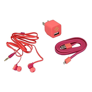 BlueDiamond ToGo Phone Accessory Kit Lightning + Wall Charger + Earbud, Pink
