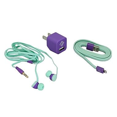 BlueDiamond ToGo – Accessoires de cellulaire, câble Lightning + chargeur mural + paire d'écouteurs-boutons, violet/aqua