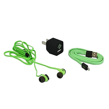 BlueDiamond ToGo Phone Accessory Kit Lightning + Wall Charger + Earbud, Green/Black