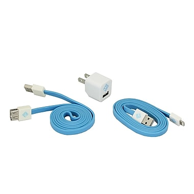 BlueDiamond ToGo Phone Accessory Kit Lightning + Wall Charger + Extension Cable, White/Blue
