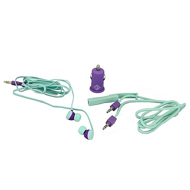 BlueDiamond ToGo Mobile Accessory Kit 3.5 mm Audio Cable + Car Charger + Earbud, Purple/Aqua