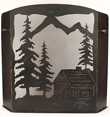 Coast Lamp Mfg. Cabin Scene Wrought Iron Fireplace Screen