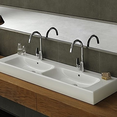 CeraStyle by Nameeks Pinto Ceramic Rectangular Vessel Bathroom Sink w/ Overflow