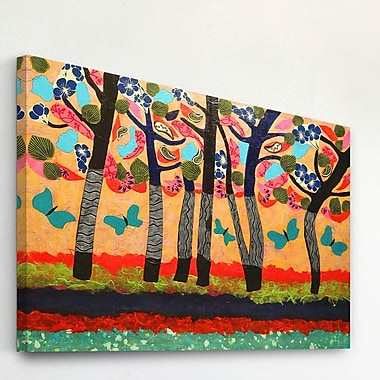 Marmont Hill 'Dancing Butterflies' by Lisa Mee Painting Print on Wrapped Canvas; 30'' H x 45'' W