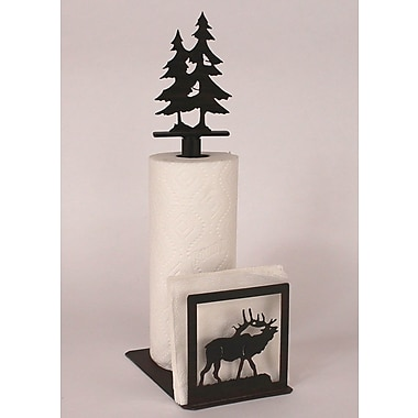 Coast Lamp Mfg. Elk Paper Towel and Napkin Holder w/ Pine Tree Topper