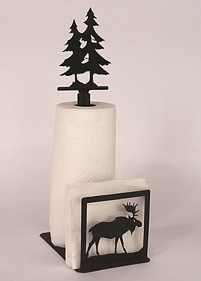 Coast Lamp Mfg. Moose Paper Towel and Napkin Holder w/ Pine Tree Holder