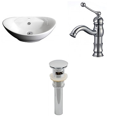 American Imaginations Ceramic Oval Vessel Bathroom Sink w/ Faucet and Overflow