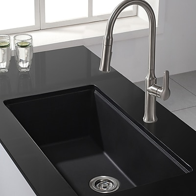 Kraus Kitchen Combos 31'' x 17.09'' Undermount Kitchen Sink w/ Faucet; Stainless Steel WYF078278050804
