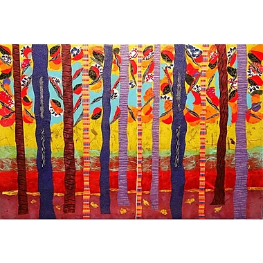 Marmont Hill 'Birch Tree Grove' by Lisa Mee Painting Print on Wrapped Canvas; 40'' H x 60'' W