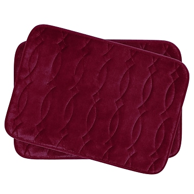 Bath Studio Grecian Small 2 Piece Plush Memory Foam Bath Mat Set (Set of 2); Barn Red