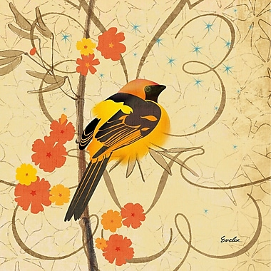 Marmont Hill 'Hooded Oriole Iii' by Evelia Painting Print on Wrapped Canvas; 32'' H x 32'' W