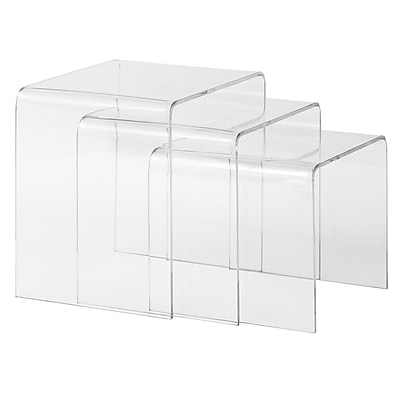 Edgemod Burton 3 Piece Nesting Tables; Clear