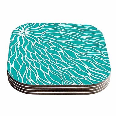 KESS InHouse Swirls Coaster (Set of 4); Teal / White