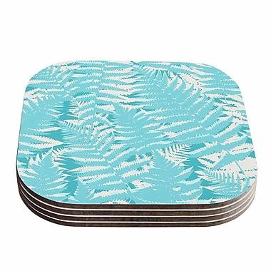 KESS InHouse Fun Fern Coaster (Set of 4); Blue / Aqua