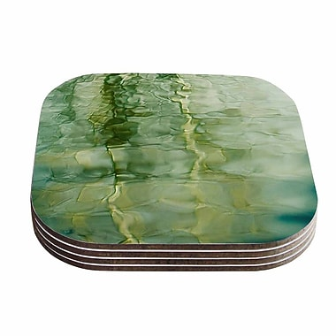 KESS InHouse Fluidity Series Coaster (Set of 4); Green