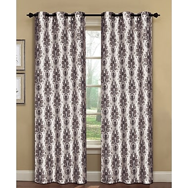 Window Elements Meridith Damask Sheer Curtain Panels (Set of 2); Grey