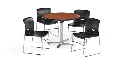 "OFM  36"" Square Laminate Multi-Purpose Flip-Top Table with 4 Chairs, Cherry Table/Black Chair (PKG-BRK-076-0001)"