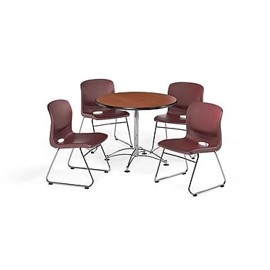 OFM – Table carrée et polyvalente de 36 po en stratifié cerisier et 4 chaises rouge vin (845123066973)