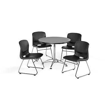 OFM – Table carrée et polyvalente de 36 po en stratifié gris nébuleux et 4 chaises noires (845123067253)