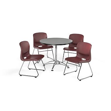 OFM – Table carrée et polyvalente de 42 po en stratifié gris nébuleux avec 4 chaises couleur vin (845123069585)