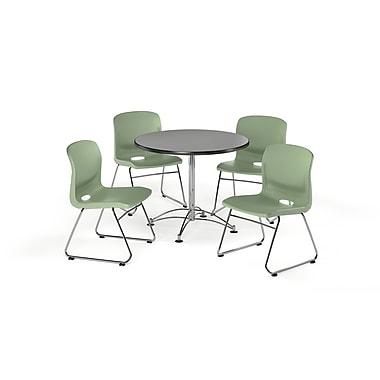 OFM – Table carrée et polyvalente de 42 po en stratifié gris nébuleux avec 4 chaises vert olive (845123069608)