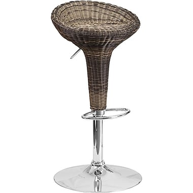 Flash Furniture – Tabouret de bar contemporain en osier à hauteur ajustable, pied chromé (DS711)