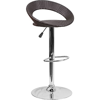 Flash Furniture – Tabouret de bar demi-lune contemporain en osier à hauteur ajustable, pied chromé (DS715)