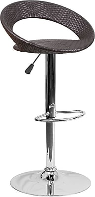Flash Furniture Contemporary Wicker Rounded Back Adjustable Height Barstool with Chrome Base (DS715)