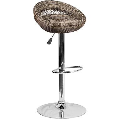 Flash Furniture – Tabouret de bar demi-lune contemporain en osier à hauteur ajustable, pied chromé (DS716)