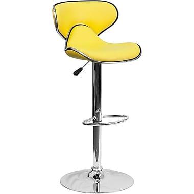 Tabouret de bar Cozy à hauteur ajustable, dossier moyen, pied chromé, siège et dossier en vinyle jaune (DS815YEL)