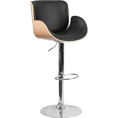 Flash Furniture Beech Bentwood Adjustable-Height Barstool with Curved Black Vinyl Seat (SD2690BEECH)