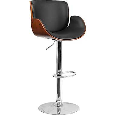 Flash Furniture Walnut Bentwood Adjustable-Height Barstool with Curved Black Vinyl Seat (SD2690WAL)
