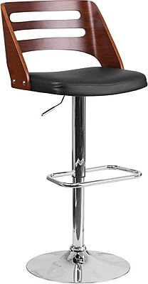 Walnut Bentwood Adjustable Height Barstool with Black Vinyl Seat and Cutout Back (SD2702WAL)