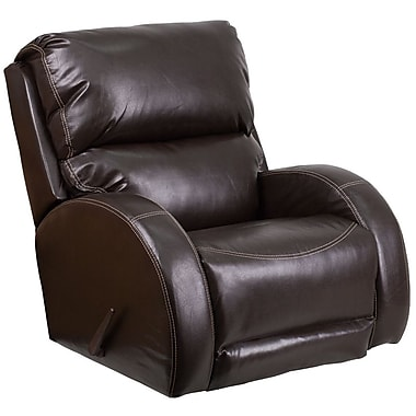 Flash Furniture – Fauteuil berçant inclinable contemporain Ty, cuir brun (WA4990620)