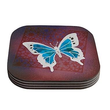 KESS InHouse Flutter Coaster (Set of 4); Maroon / Aqua