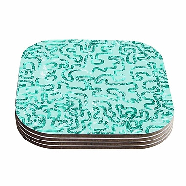 KESS InHouse Squiggles Coaster Set (Set of 4); Teal / Green