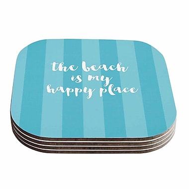 KESS InHouse Beach is My Happy Place Typography Coaster (Set of 4); Blue / Aqua