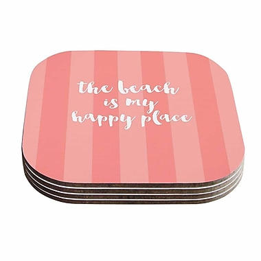 KESS InHouse Beach is My Happy Place Typography Coaster (Set of 4); Coral / Pink