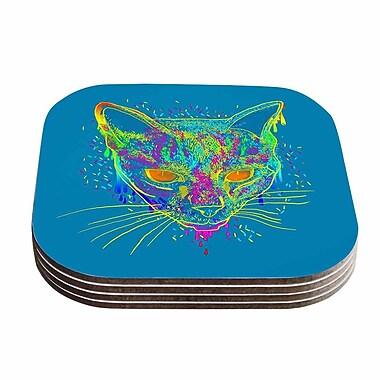 KESS InHouse Candy Cat Coaster (Set of 4); Blue