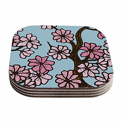 KESS InHouse Cherry Blossom Floral Illustration Coaster (Set of 4); Blue / Pink