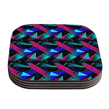 KESS InHouse Confetti Triangles Coaster (Set of 4); Dark Magenta Blue