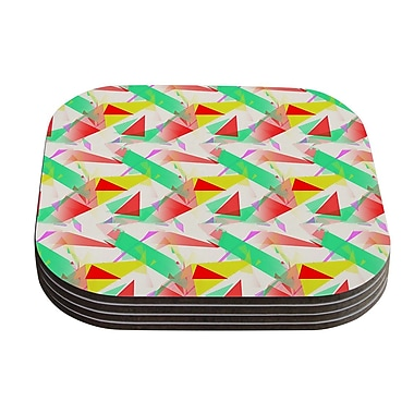 KESS InHouse Confetti Triangles Coaster (Set of 4); Red / Green