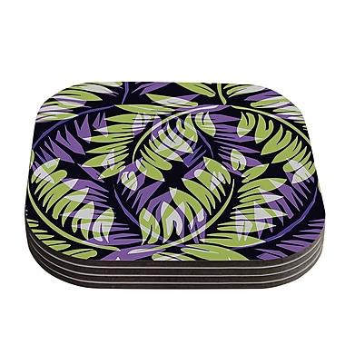 KESS InHouse Fern Coaster (Set of 4); Dark Green / Purple