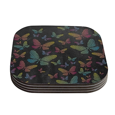 KESS InHouse Butterflies Chalk Coaster (Set of 4); Pastel