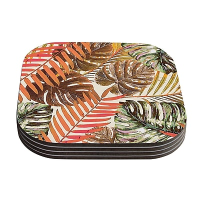 KESS InHouse Jungle Coaster (Set of 4); Rust / Orange Brown