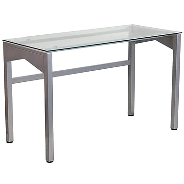 Flash Furniture – Bureau contemporain avec surface en verre trempé transparent (NANYLCD1219)