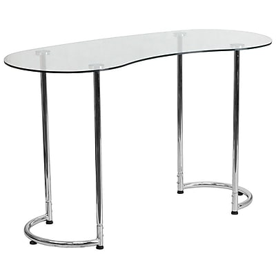 Flash Furniture Contemporary Desk with Clear Tempered Glass (NANYLCD1235)
