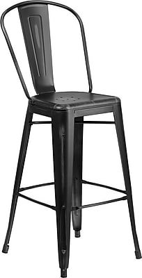 Flash Furniture 30'' High Distressed Black Metal Indoor Barstool with Back (ET353430BK)