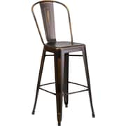 Flash Furniture 30'' High Distressed Copper Metal Indoor Barstool with Back (ET353430COP)